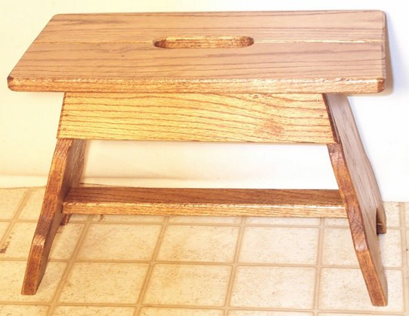 Oak Step Stool With Handle