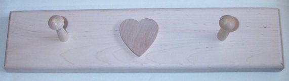 2 Peg Coat Rack With Heart